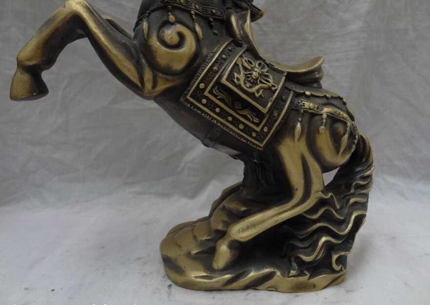 """Elegante velho s2880 12 """"folk chinês bronze ano zodíaco animais dragão cabeça para cima saltar cavalo estátua (um desconto de 0319 35%)"""