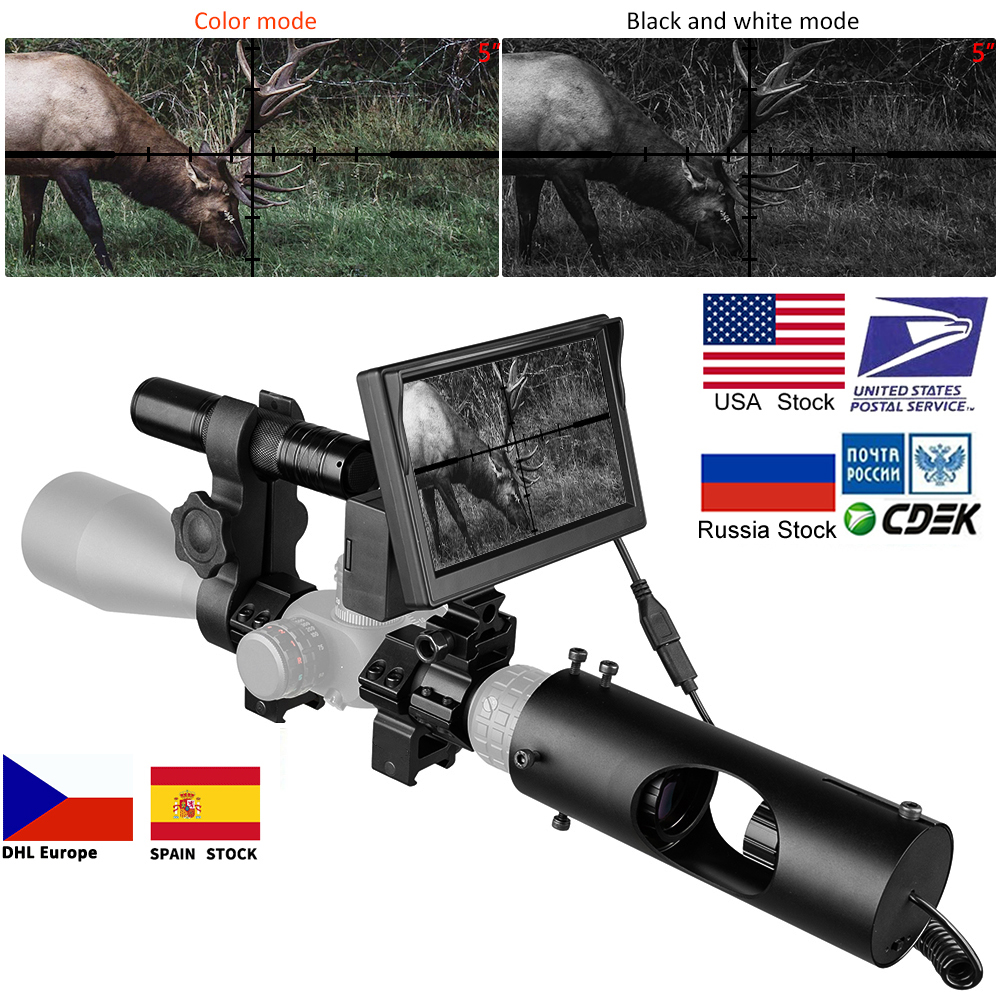 Night Vision Riflescope Hunting Scopes Optics Sight Tactical 850nm Infrared LED IR Waterproof Night Vision Device Hunting Camera-in Riflescopes from Sports & Entertainment