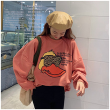 Winter Fall Women Sweatshirts Hoodies Yellow Duck Printed Sweet Casual Pullover Cute Loose Top Long Sleeve O-Neck Tops Oversize недорого