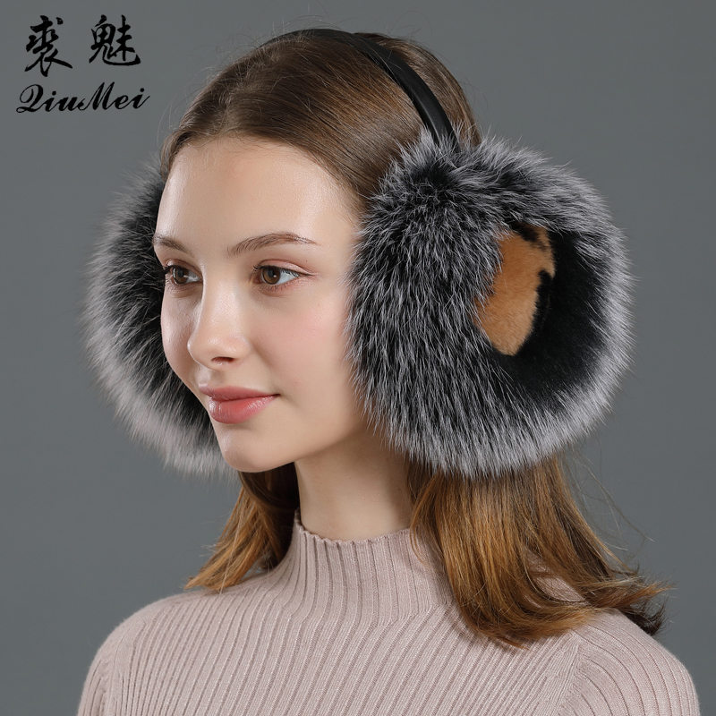 Winter Earmuffs Real Fox Fur With Rabbit Warm Headphones For Women New 2019 Fashion Fluffy Natural Fur Ear Earmer Protector