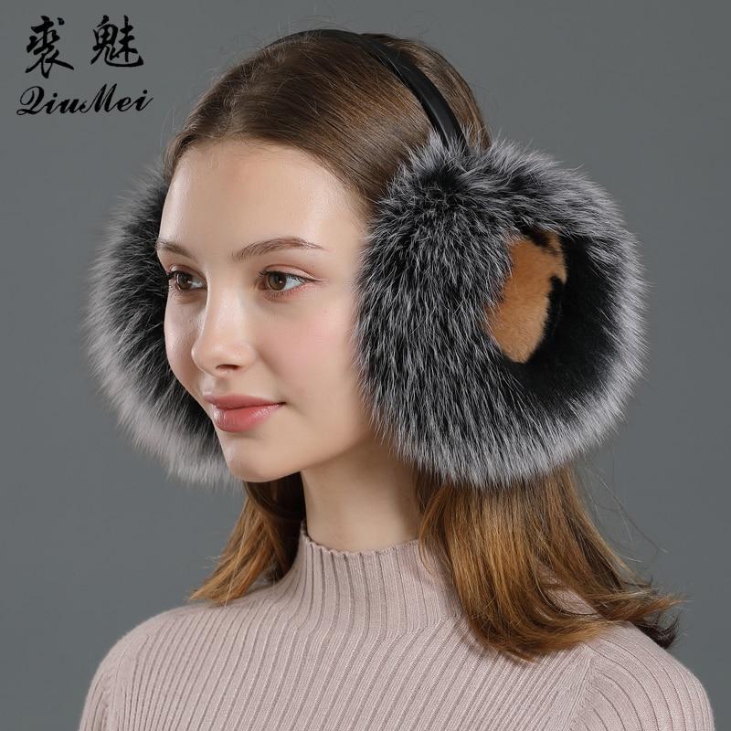 Winter Earmuffs Real Fox Fur With Rabbit Warm Headphones For Women New 2019 Fashion Fluffy Natural Fur Ear Earmer Protector