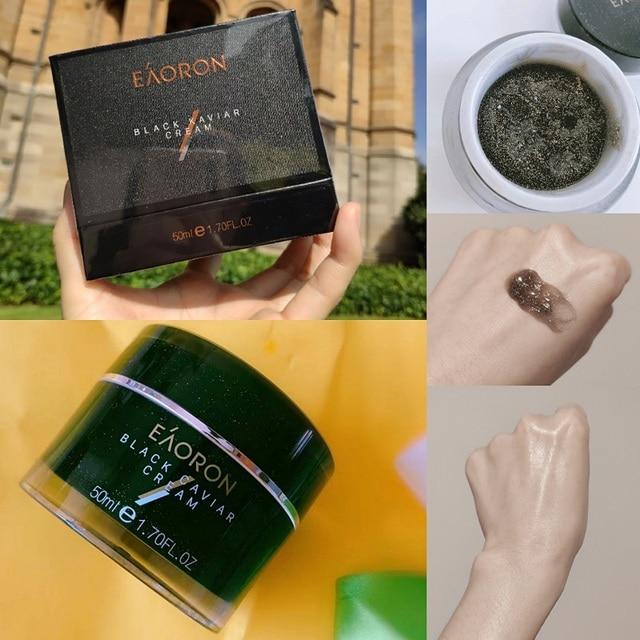 Australia Eaoron crema reafirmante de estiramiento nutritivo de la piel, color negro Kaviar, 50g, minimiza las manchas oscuras, pigmentación, reduce los poros