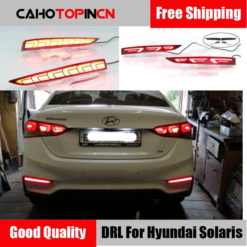2 предмета в комплекте, для Hyundai Solaris акцент 2017 2018 мульти-функции Автомобильный светодиодный задний противотуманный фонарь заднего бампера с...