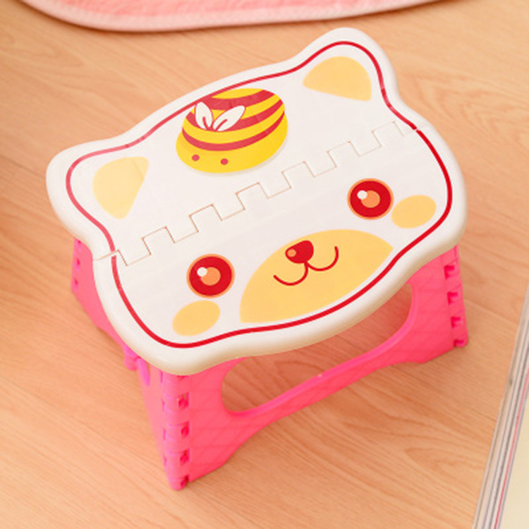 H Cute Portable Plastic Stools Thicken Step Folding Child Stools Plastic Folding Chairs Kids Stools Pink Blue