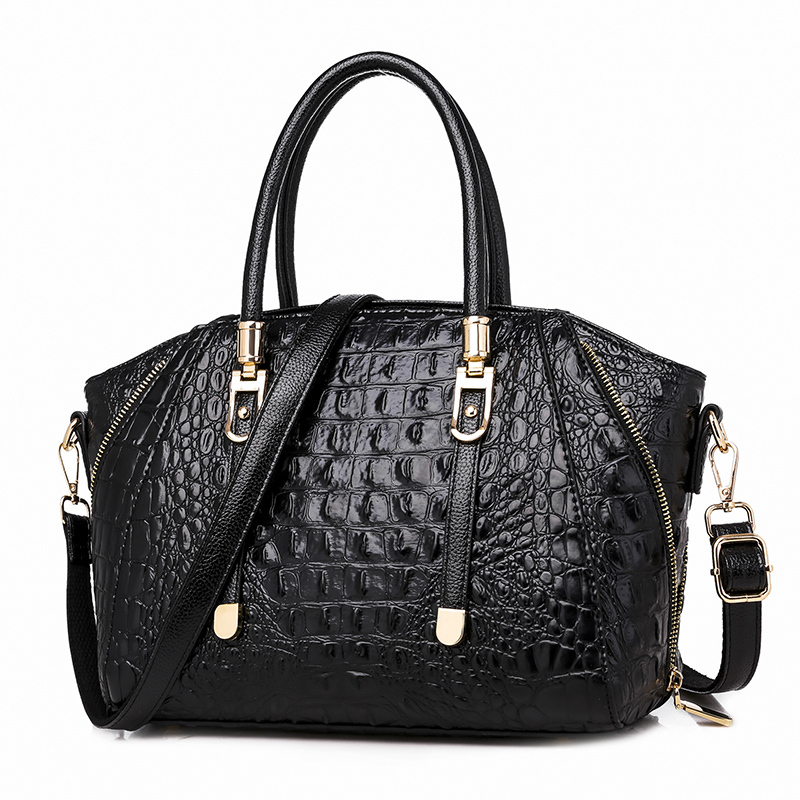 2019 High Quality Women Leather Handbags Luxury Fashion Crocodile Pattern Shoulder Messenger Bags Large Capacity Casual Totes