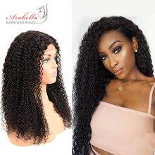 Кудрявые человеческие волосы парики 180% Плотность парик шнурка с детскими волосами натуральный цвет remy волосы Arabella предварительно сорванные 4*4 закрытие шнурка парик