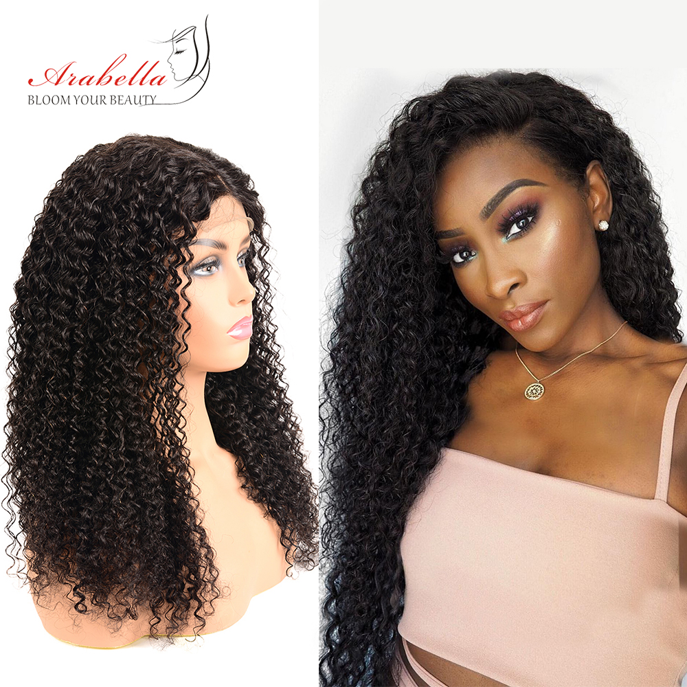 Curly Human Hair Wigs 180% Density Lace Wig With Baby Hair Natural Color Remy Hair Arabella Pre Plucked 4*4 Lace Closure Wig