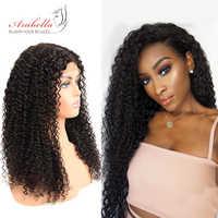 Pelucas de cabello humano rizadas 180% densidad peluca con encaje con pelo de bebé Color Natural Remy cabello Arabella Pre desplumado 4*4 Peluca de cierre de encaje