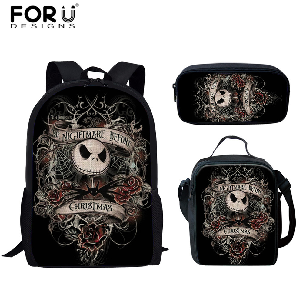 FORUDESIGNS 2019 3Set School Bags For Boys Nightmare Before Christmas Print Primary Student Skull Gothic Backpack Child Book Bag