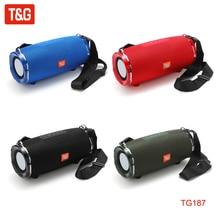 T&G TG187 Bluetooth Speaker Portable Loudspeaker Waterproof Wireless Bass Speakers Surround Support FM TF with Shoulder Strap