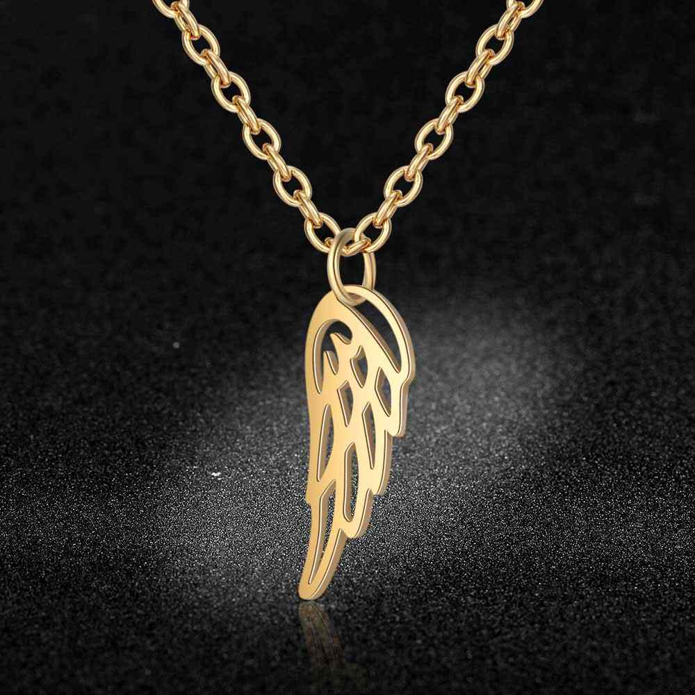 100% Stainless Steel Angel Wing Charm Necklace Vnistar Simple Design Wing of Freedom Pendant Necklaces Women's Jewelry Necklace