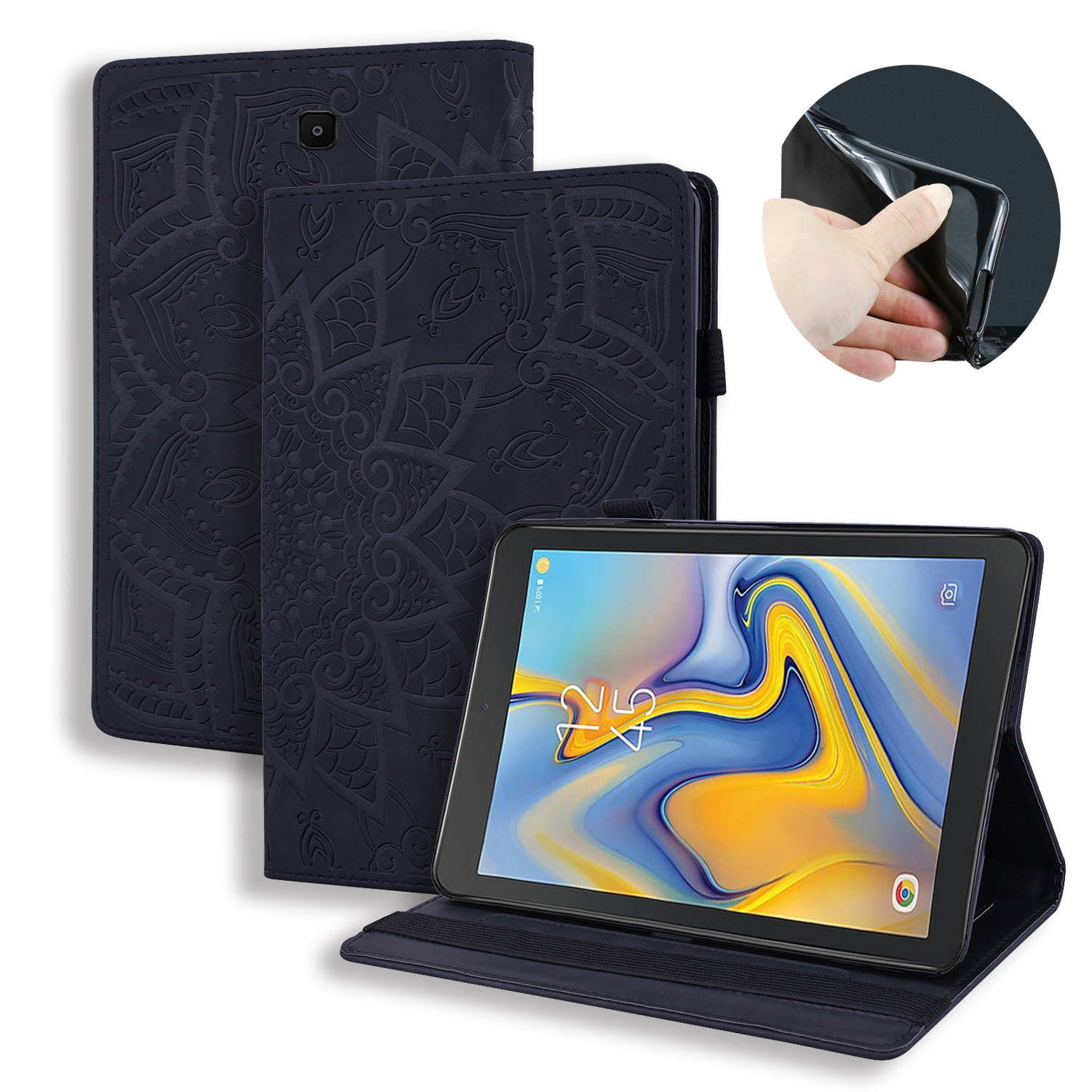 Flip Embossed Flower Leather Stand Wallet Tablet Cover For Samsung Galaxy Tab A 8.0 T387 SM-T387V SM-T387W Case 2018 Coque+Pen