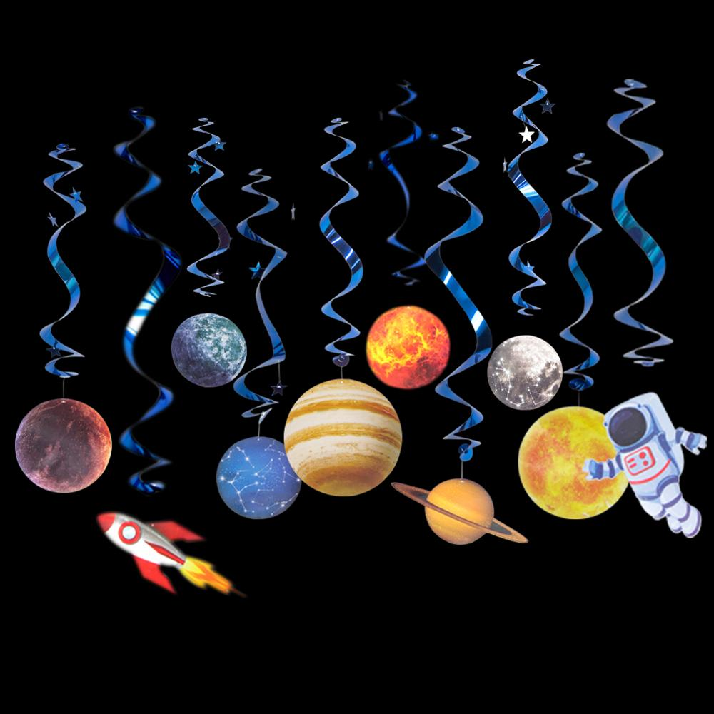 Комплект из 10 подвесных планет и вертлюгов на солнечной батарее, украшение для детей в космическом стиле, для дня рождения, вечеринки в чест...
