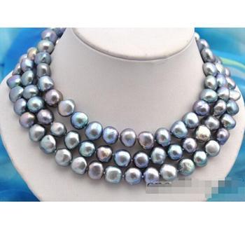 """Joyería de moda buena 50 """"11x12mm barroca gris FW collar de perlas"""