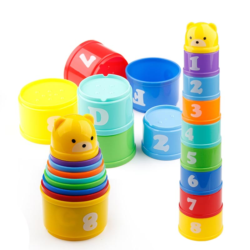 9PCS Educational Baby Toys 6Month+ Figures Letters Foldind Stack Cup Tower Children Early Intelligence
