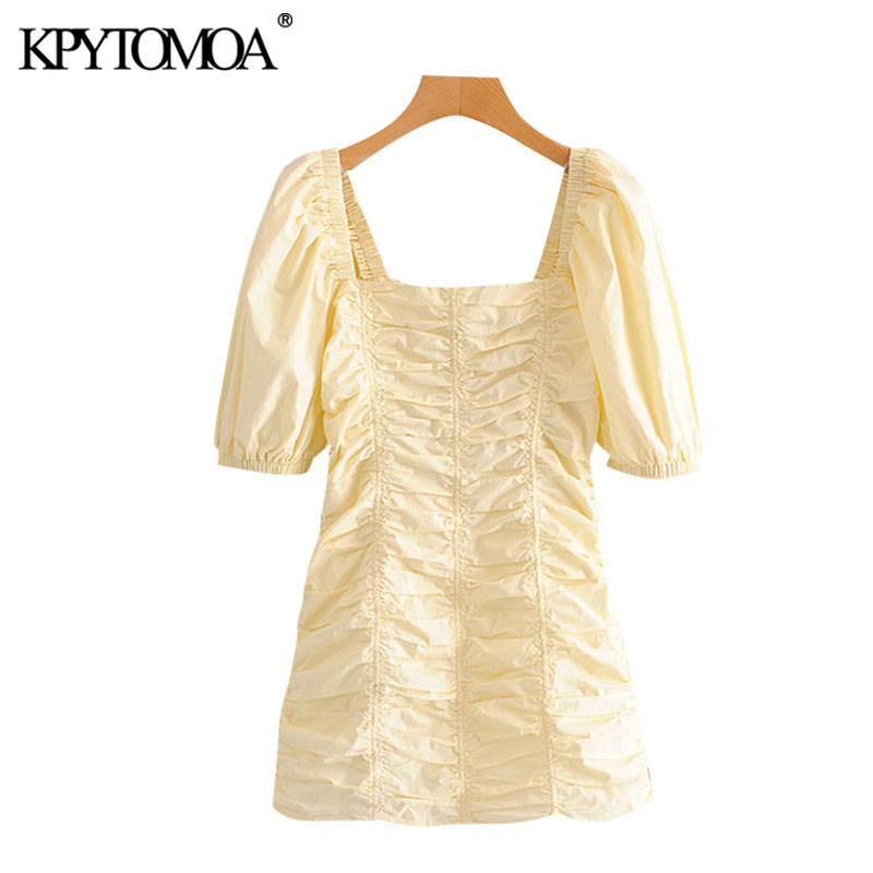 KPYTOMOA Women 2020 Chic Fashion Candy Color Pleated Mini Dress Vintage Square Collar Puff Sleeve Female Dresses Vestidos Mujer