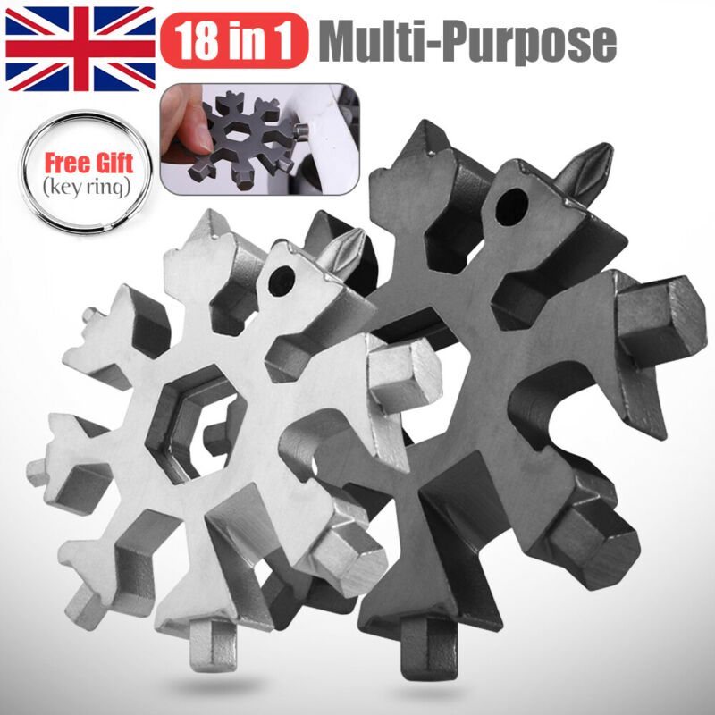18 IN 1 Multi Tool Portable Snowflake Shape W Key Ring Screwdrive Free Shipping