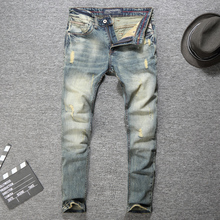 Italian Style Fashion Men Jeans High Quality Retro Wash Classical Ripped Jeans Men Destroyed Denim Pants Slim Fit Hip Hop Jeans