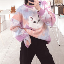 Autumn Clothing 2019 New Fashionable Tie - Dyed Gradient Profile Printing Cute Women Pullovers Sweatshirt