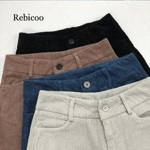 Winter pants womens 2019 retro corduroy warm trousers women casual loose high waist harem