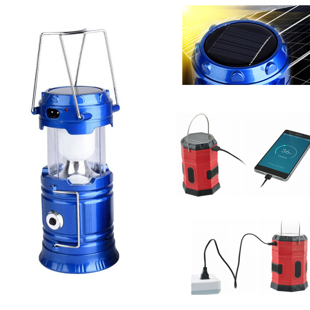 Outdoor Portable Lanterns Multifunction 6/20 LEDs Solar Power Lamp Collapsible  USB Rechargeable Camping Lantern Light New