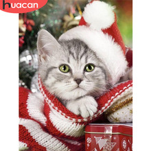 HUACAN Christmas 5D DIY Diamond Painting Cat Full Drill Square Embroidery Dog Winter Decor Home Picture Of Rhinestone