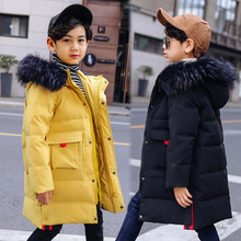 Winter Fashion Thicken Warm Long Child Down Coat Children Outerwear Waterproof Kids Outfits Baby Boys Jackets For 120-160cm цены