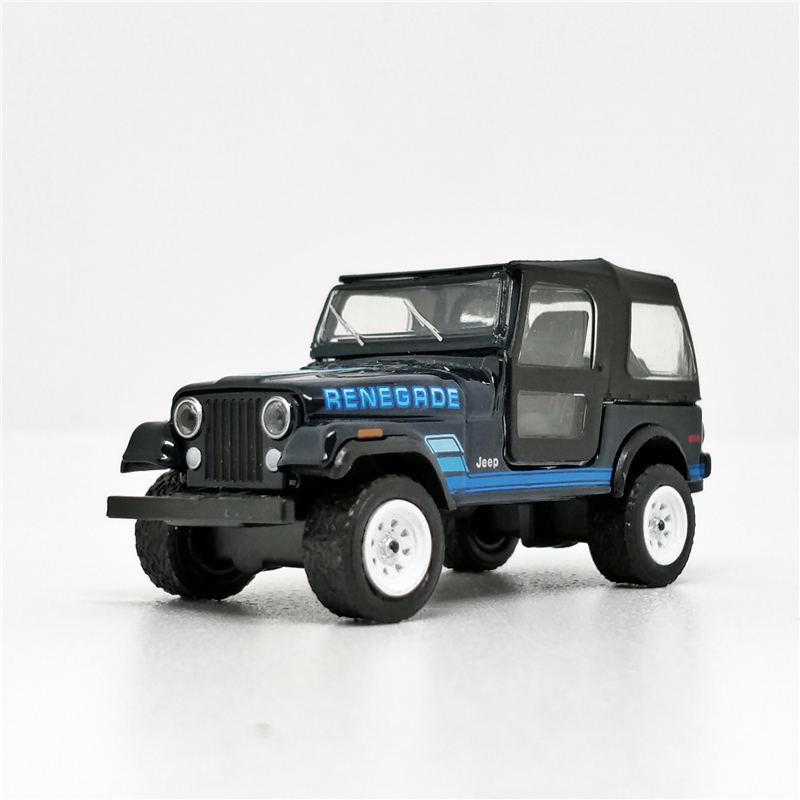 Greenlight 1:64 Jeep CJ-7 1984 Renegrde Black Blue No Box