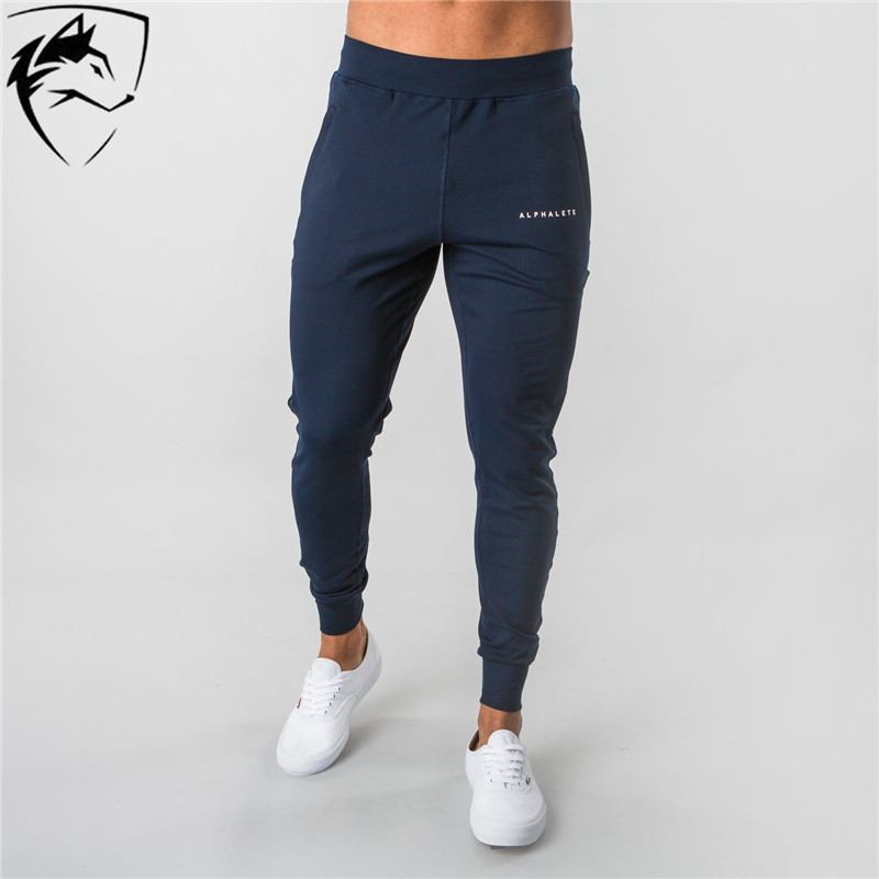 ALPHALETE Brand Casual Skinny Pants Men Joggers Sweatpants Gyms Fitness Workout Track Pants Running Cotton Trousers Sportswear