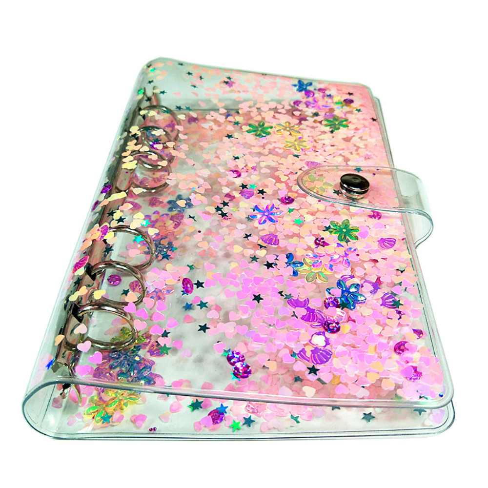 Personal A5 A6 6 Hole Clear Binder Cover Colorful Quicksand Soft PVC Notebook Round Ring Protector With Snap Closure DIY Journal