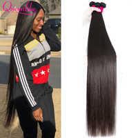 QueenLike-extensiones de cabello humano brasileño, mechones de cabello liso, doble trama de cabello brasileño, 30, 32, 34, 36, 38 y 40 pulgadas