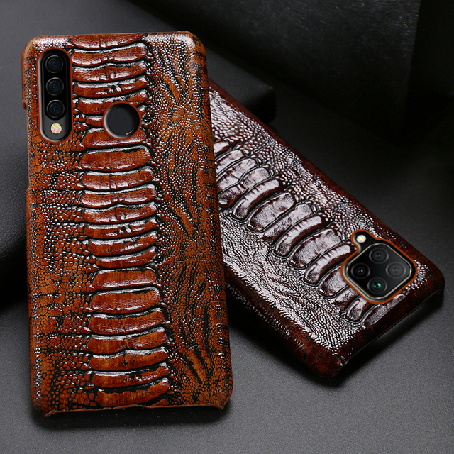 Leather Phone Case For Huawei Honor 30 30S X10 20 20i 10 10i 9 8 Lite 9X 8X Max 7X 7A V30 Pro V20 V10 Ostrich Foot Texture Cover