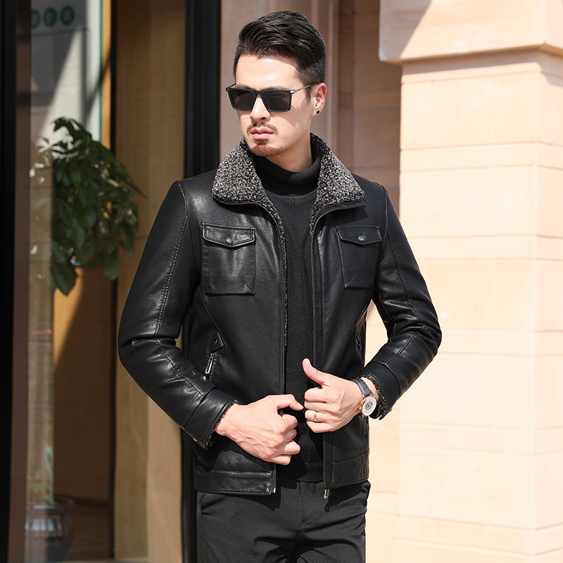 Big Plus Size 8xl Down Filling Jacket Warm Winter Sheepskin Men's Leather Jacket Men Leisure Fur Coat Men Wool Real Leather Coat