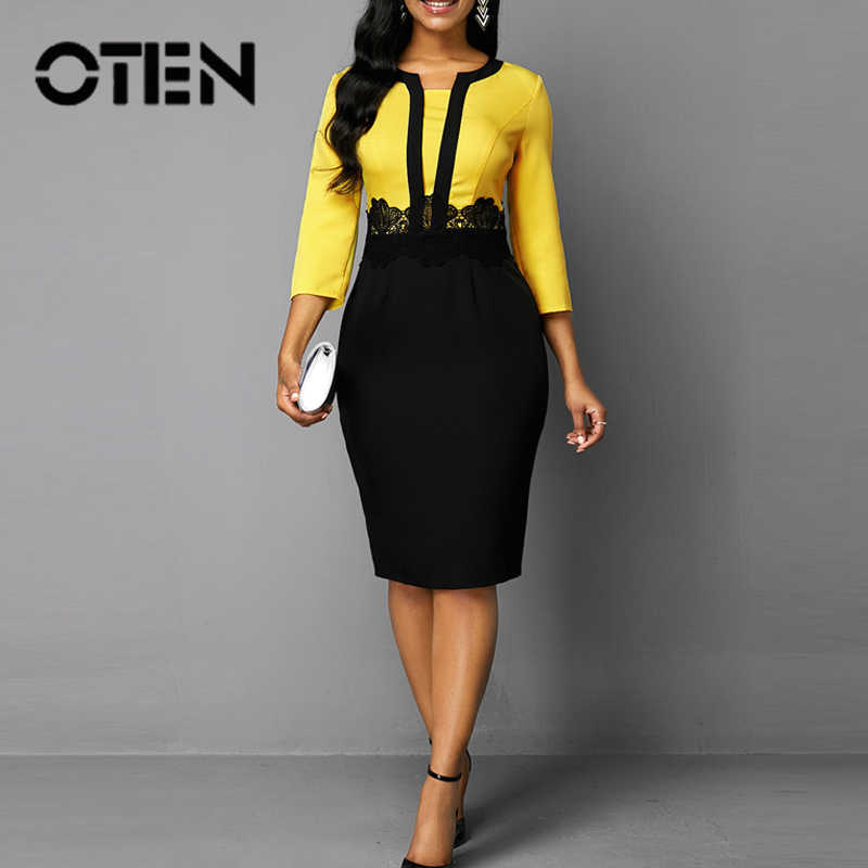 OTEN Formele Office 3/4 Mouwen O-hals Business Vrouwen Jurk Patchwork Hoge Taille Elegante Werkende Dames Potlood Slim Party Patch