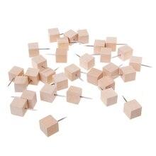 30Pcs/Set Wooden Thumbtack Quadrate Creative Decorative Drawing Push Pins Wood Head Thumb Tack