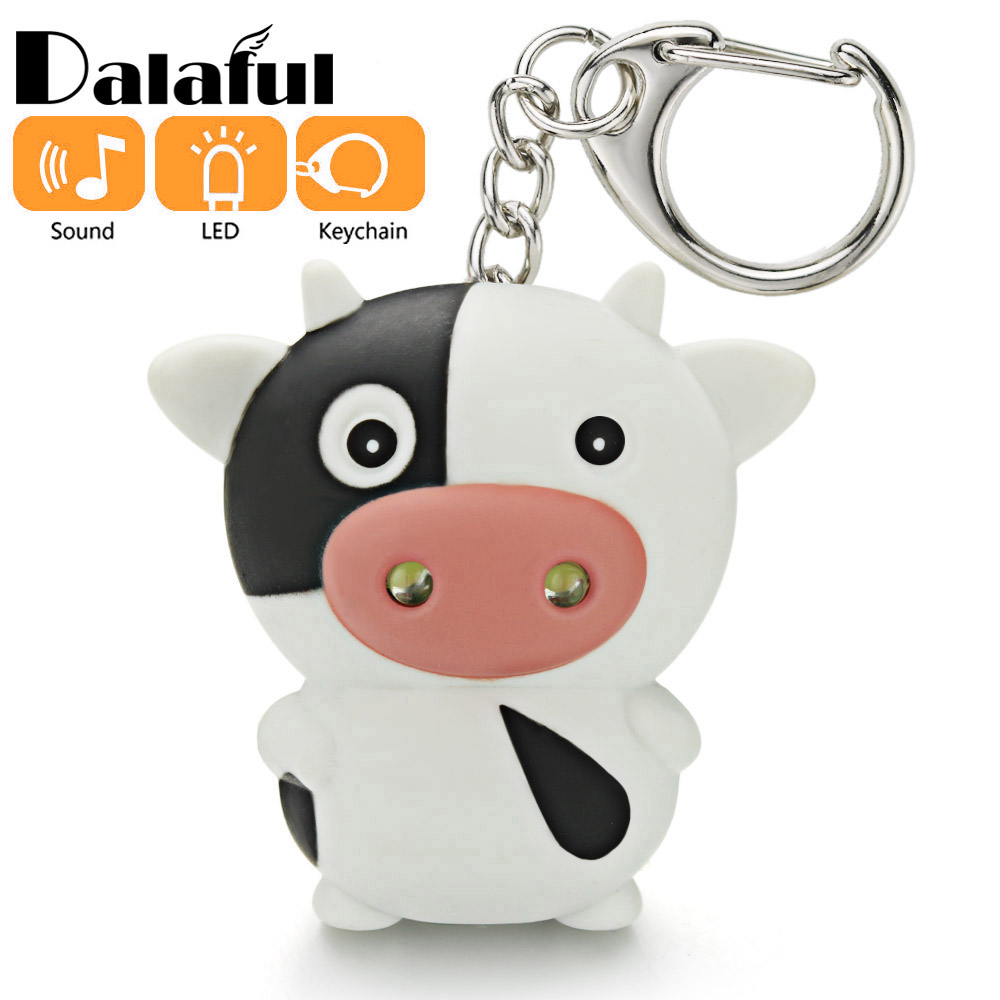 Cute LED Cow Cattle Keychain With Sound Flashlight Mini Fun Toys For Kids Animal Keyring Children Gift Key Chain K390