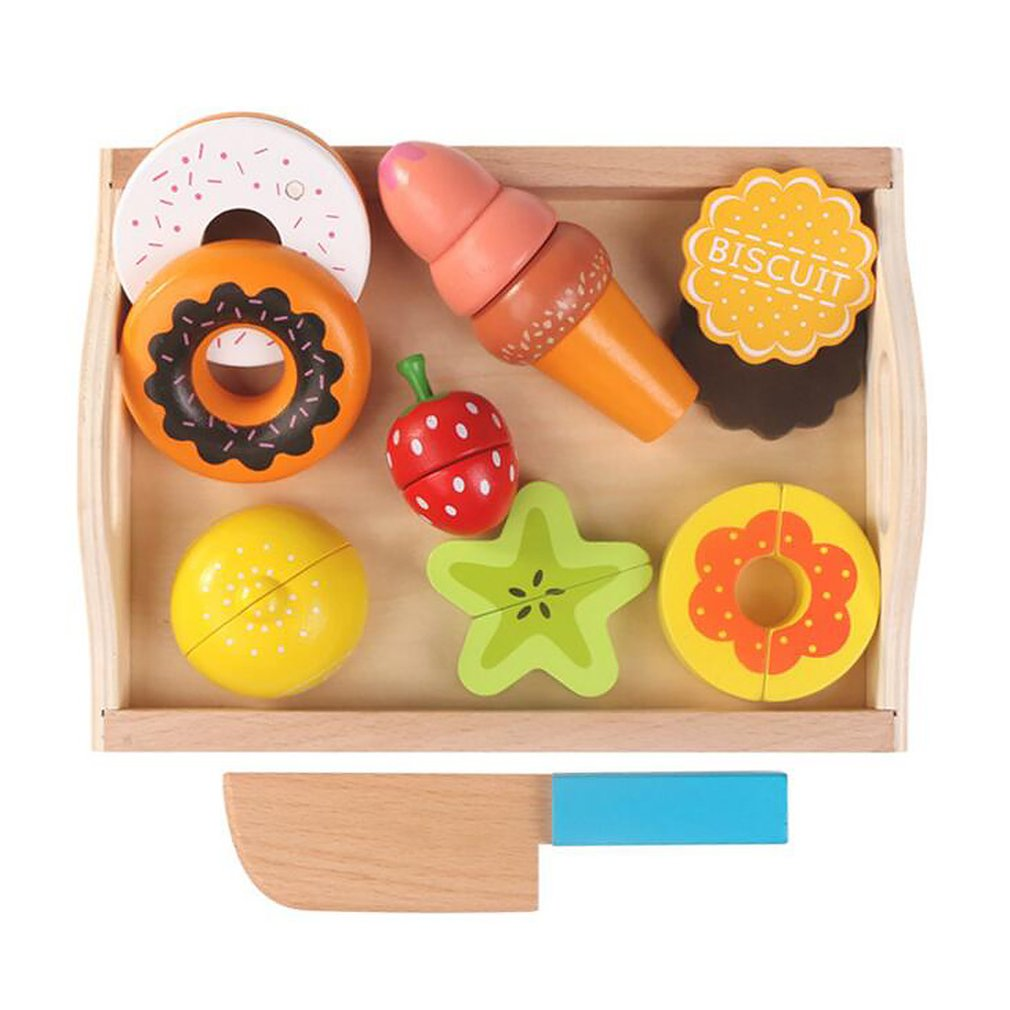 Children's Wooden Tray Magnetic Fruit And Vegetables Cut To See Cut Home Toys