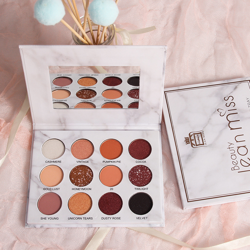 Brand Nude Eye Shadow Palette 12 Color Marble Eyeshadow Shimmer Matte Glitter Powder Waterproof Paleta De Sombra Makeup Pallete