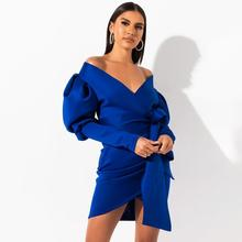 Fashion irregular bow tie slim dress solid color V-neck wrapped chest puff sleeve Elegant vintage style unique design hot sale pinstripe bow tie puff sleeve dress