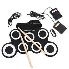 Складной электронный ручной барабан, USB ударный инструмент, набор силиконовых электрических барабанов, набор с барабанными палочками, педаль