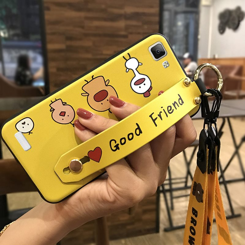 Lanyard Phone <font><b>Case</b></font> <font><b>VIVO</b></font> <font><b>Y35</b></font> Shockproof Cute Cartoon Series TPU Cover Delicate Silicone Phone Holder image