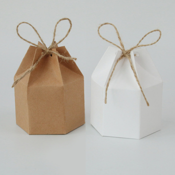 50pcs Kraft Paper Package Cardboard Box Lantern Hexagon Candy Box Favor And Gifts Wedding Christmas Valentine's Party Supplies