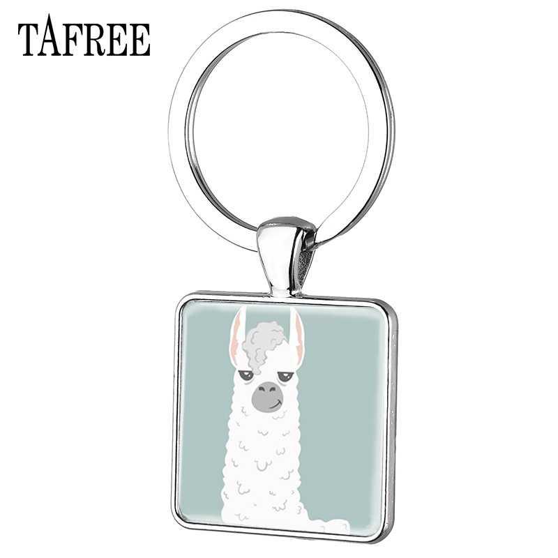 TAFREE Alpaca Bonito chaveiro Animais Chaveiro Chave Da Cadeia de Charme Pingente Redondo De Vidro Quadrado Para As Mulheres Jóias YT07