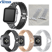 Rhinestone Strap For Apple Watch Band 38/40 mm Stainless Steel replacement Bracelet Strap for Apple Watchband 42/44 mm Bracelet цена 2017