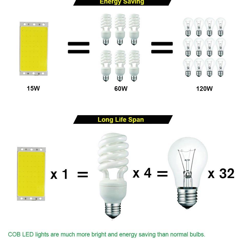 DC12V COB LED Strip Light Source 5W 10W 20W 50W 200W 300W LED Bulb White Blue Red Flip Chip COB Lamp DIY House Car Lighting 12V (21)