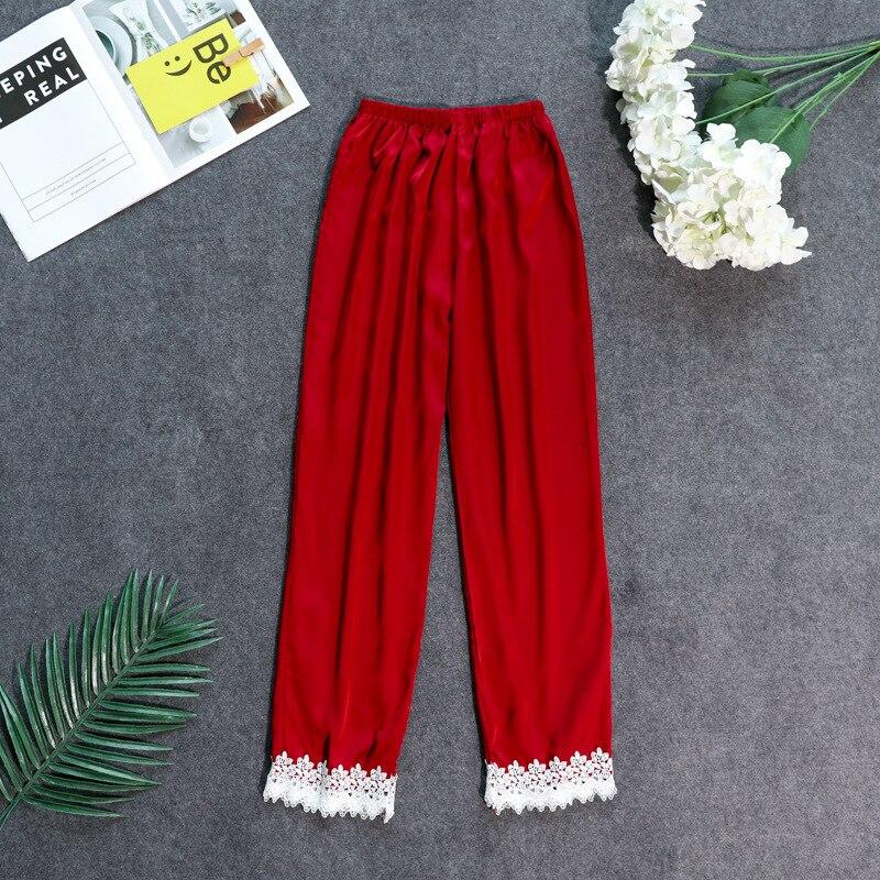 Осенние женские атласные пижамные штаны Свободные повседневные пижамы одежда для сна штаны для отдыха домашняя одежда - Цвет: burgundy C