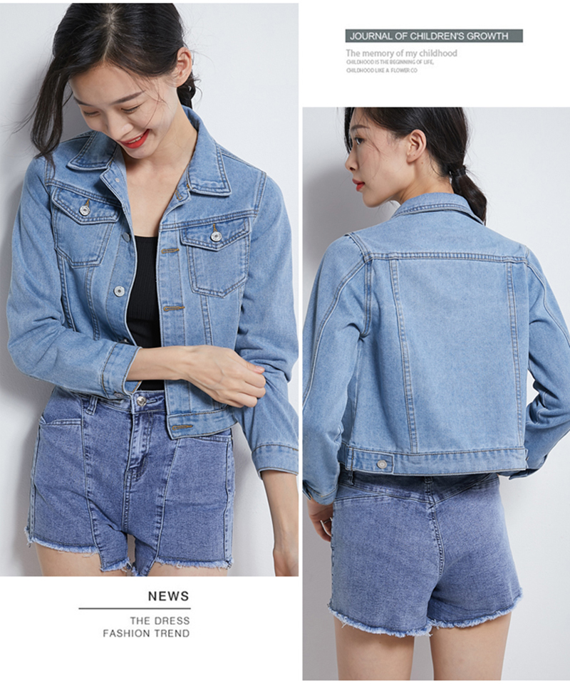Hf13cc974f33946ad914a90747005bee3W Jeans Jacket and Coats for Women 2019 Autumn Candy Color Casual Short Denim Jacket Chaqueta Mujer Casaco Jaqueta Feminina