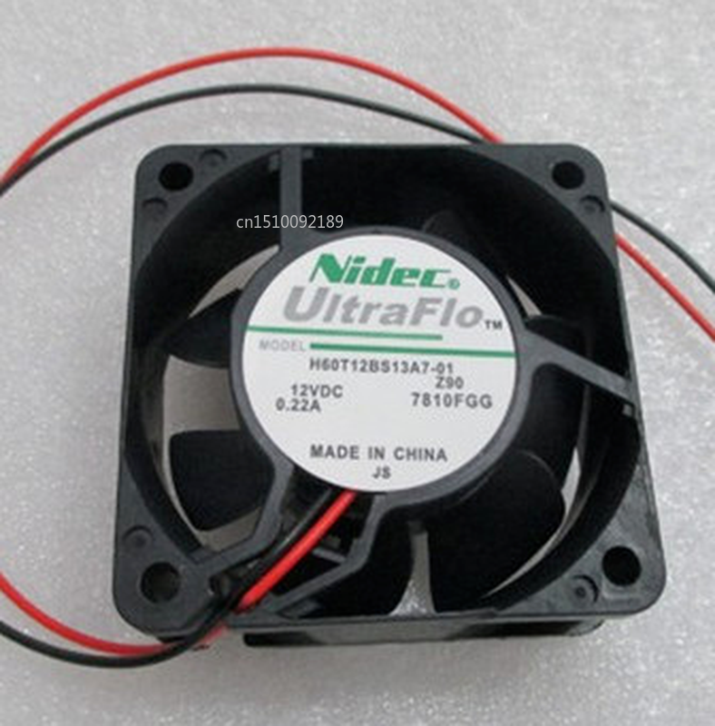 Free Shipping H60T12BS13A7-01 DC 12V 0.22A 60x60x25mm 2-Wire Server Cooler Fan