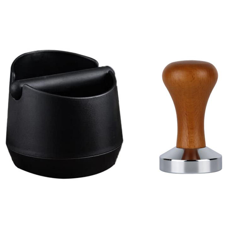Coffee Grind Knock Box and Coffee Tamper for Espresso Machine Shock-Absorbent Knock Bar for Easy Coffee Ground Disposal