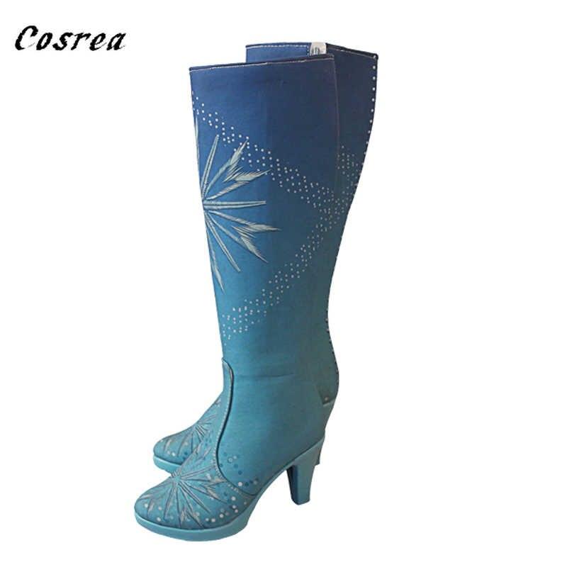 Königin Anna Elsa Schuhe Kostüm prinzessin elsa Eis Schuhe Winter Mädchen Weihnachten Anna Elsa Schnee Cosplay Knie-hohe Hohe ferse Stiefel